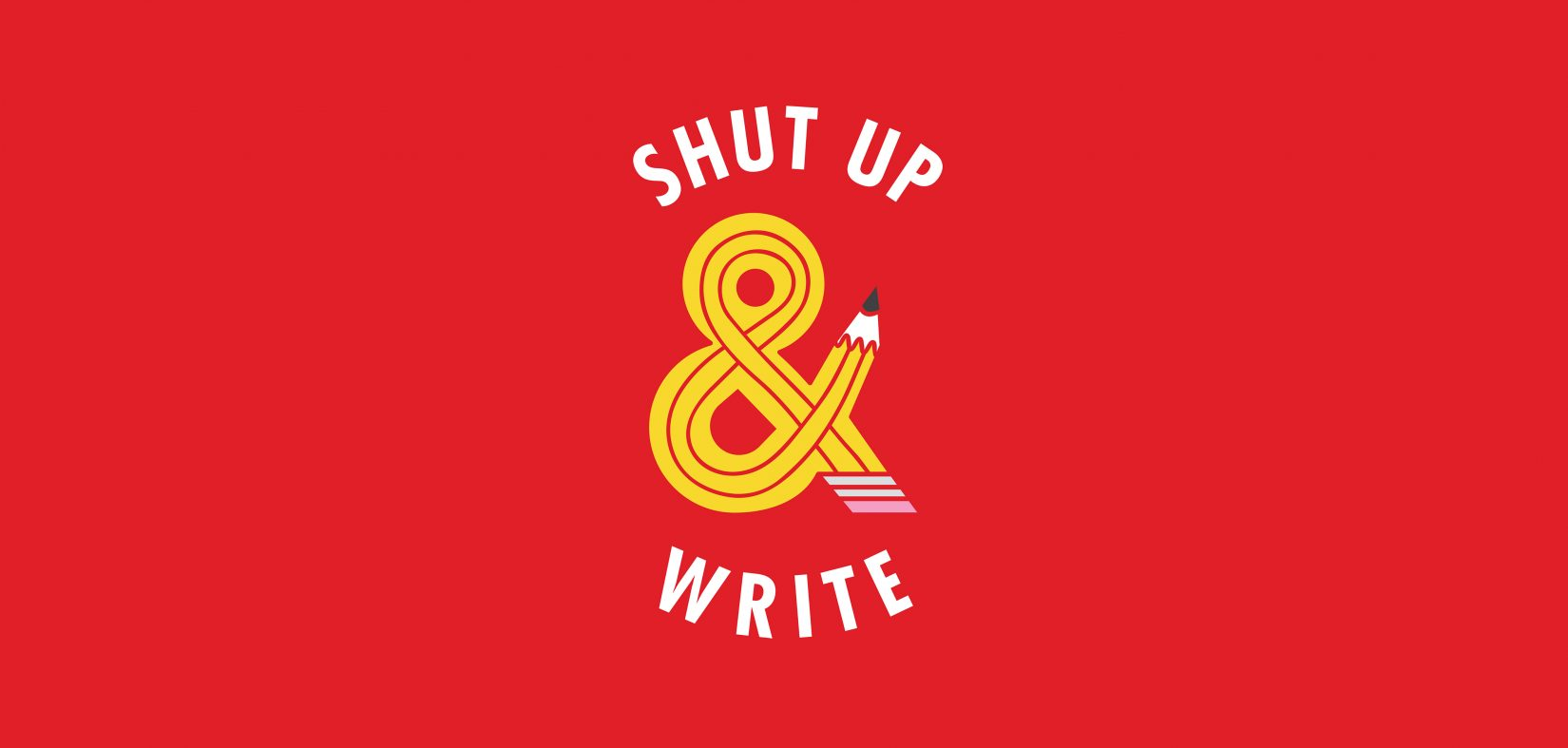 Shut Up And Write logo. The ampersand is in the design of a pencil.