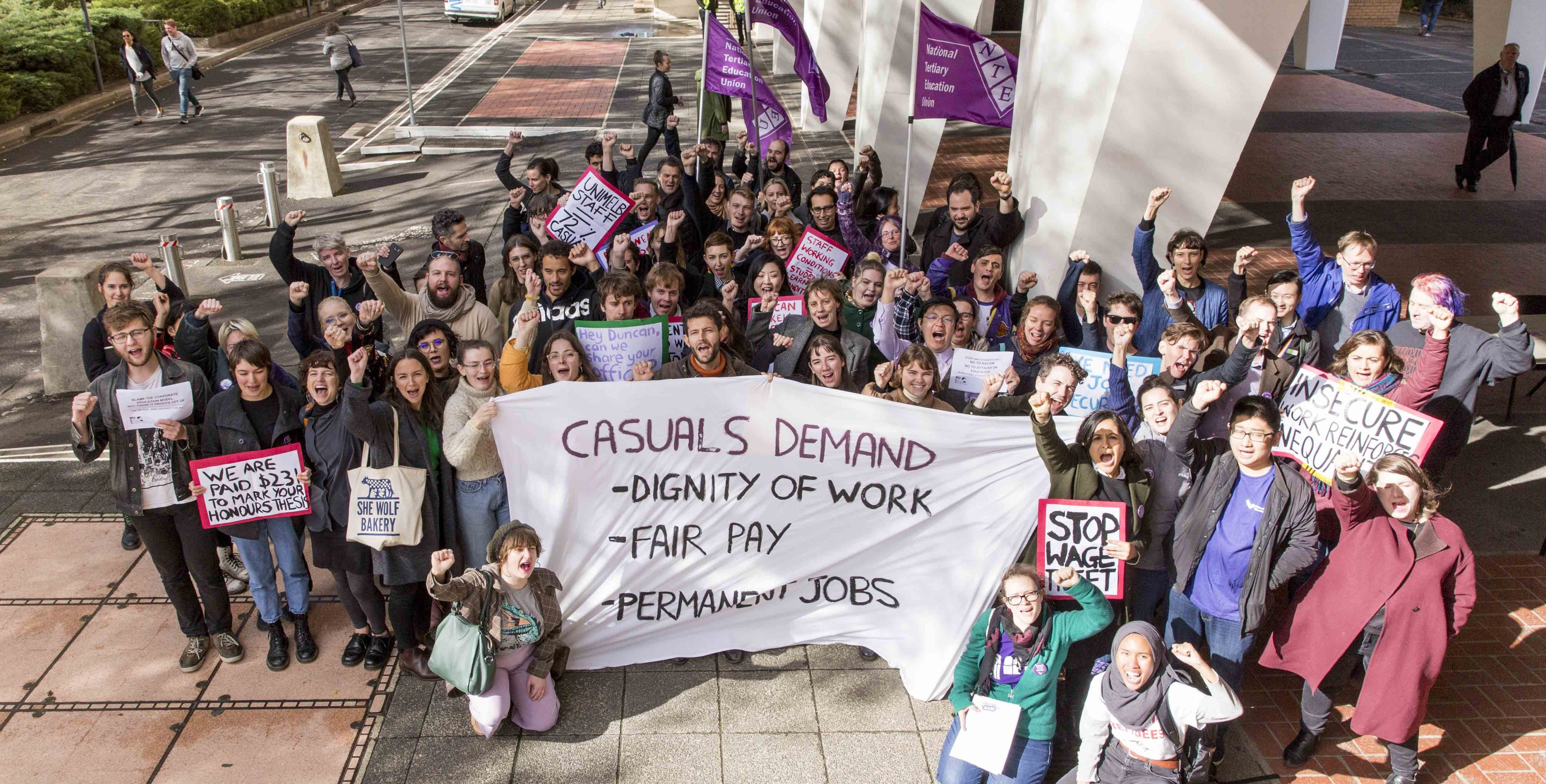The rally outside Raymond Priestley building, 8 May