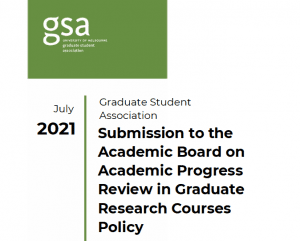 Cover of Submission to the Academic Board on the Academic Progress Review in Graduate Research Courses Policy
