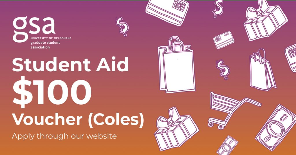 Student Aid $100 Voucher - Icons of dollar notes and shopping items.