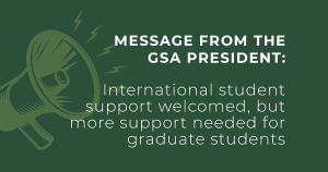 Loudspeaker image with text reading: International student support welcomed, but more support needed for graduate students