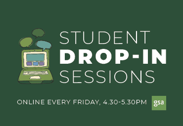 Student Drop-in sessions: online every friday, 4.30-5.30pm. Graphic of a laptop with speech bubbles.