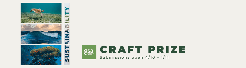 Craft Prize - submissions open 4/10-1/11. Images of a beach, a turtle swimming and a coral stack.
